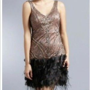 Sue Wong Beaded GATSBY Ostrich Feather Dress